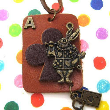 Ace of Clubs Bunny Rabbit Playing Card Pendant Necklace in Leather | DOTOLY