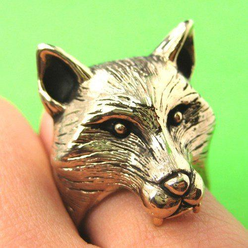 3D Fox Wolf Shaped Adjustable Animal Ring in Shiny Gold | DOTOLY | DOTOLY