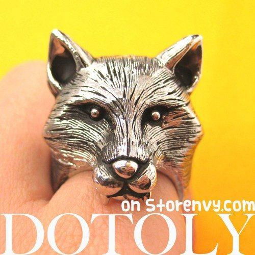 3D Adjustable Fox Werewolf Animal Ring in Shiny Silver with Fur Detail | DOTOLY