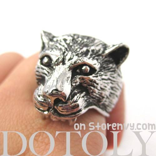 3D Realistic Jaguar Leopard Adjustable Unisex Animal Ring in Silver | DOTOLY | DOTOLY