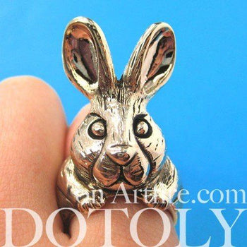 3D Alice In Wonderland Bunny Rabbit Adjustable Animal Ring in Gold | DOTOLY | DOTOLY