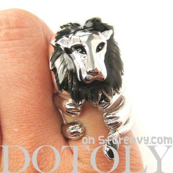 Adjustable Lion Animal Wrap Around Ring in Shiny Silver | DOTOLY | DOTOLY
