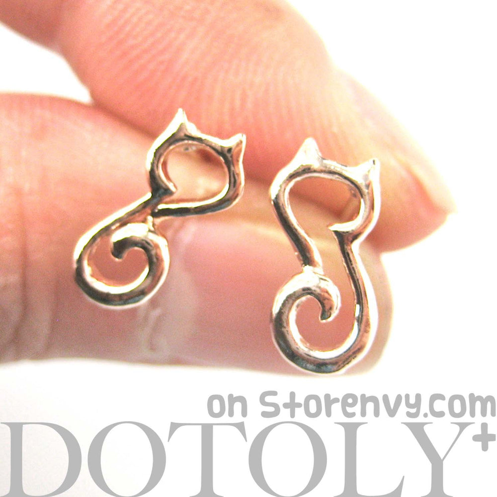 Kitty Cat Animal Outline Shape Stud Earrings in Rose Gold | DOTOLY | DOTOLY