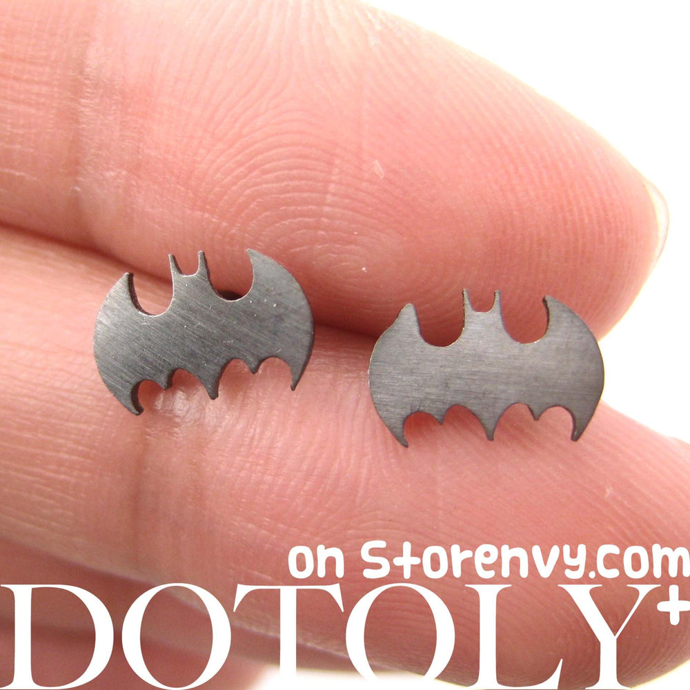 Bat Silhouette Symbol Batman Logo Stud Earrings in Dark Silver | Allergy Free | DOTOLY
