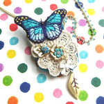 Butterfly Pendant and Brooch Necklace with Lace Detail in Shades of Blue | DOTOLY