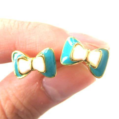 Bow Tie Knot Shaped Ribbon Stud Earrings in Turquoise on Gold | DOTOLY