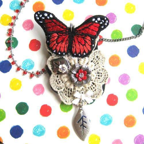 Butterfly Pendant and Brooch Necklace with Lace Detail in Shades of Red | DOTOLY