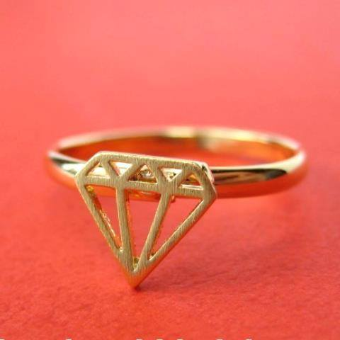Adjustable Diamond Shaped Cut Out Ring in Gold | DOTOLY | DOTOLY