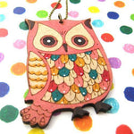 Unique Owl Bird Animal Pendant Necklace Ink on Wood | DOTOLY