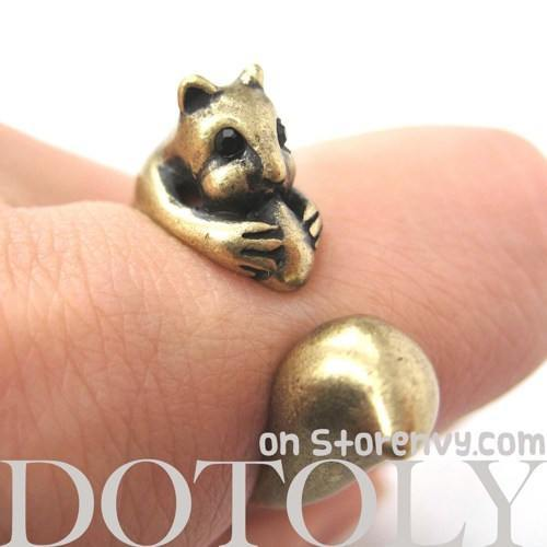 Squirrel Chipmunk With Acorn Animal Wrap Around Ring in Brass | US Sizes 5 - 9 | DOTOLY