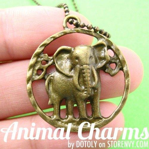 Realistic Elephant Cut Out Animal Pendant Necklace in Bronze on SALE | DOTOLY