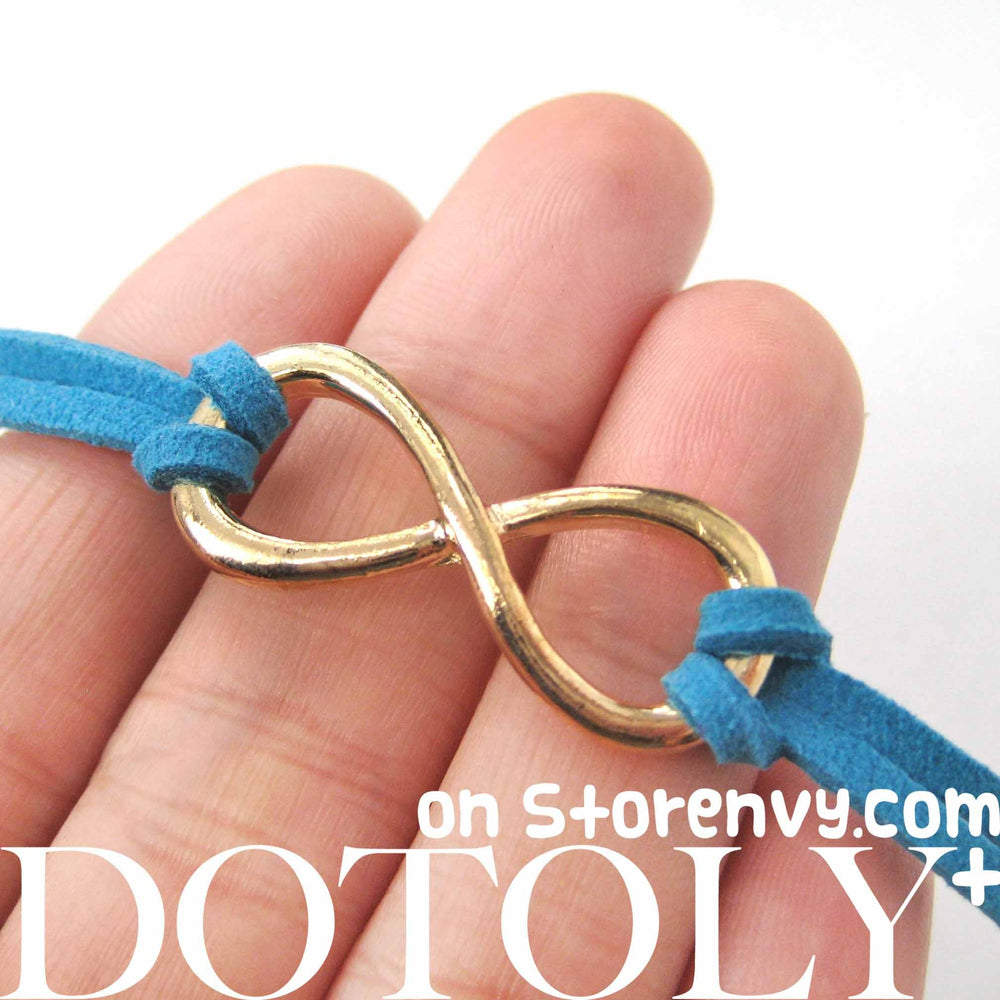 Simple Infinity Loop Pendant Bracelet in Gold on Turquoise | DOTOLY | DOTOLY