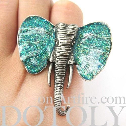 adjustable-elephant-animal-ring-in-silver-with-turquoise-glitter-ears
