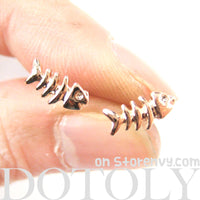 Small Fishbone Fish Skeleton Shaped Stud Earrings in Gold | DOTOLY