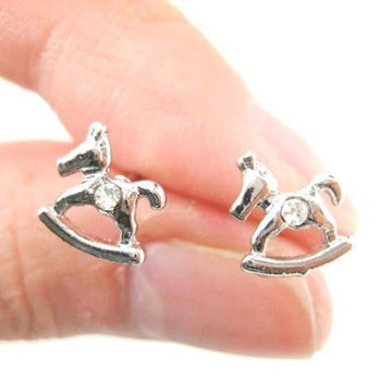 Small Rocking Horse Shaped Animal Stud Earrings in Silver | DOTOLY