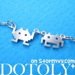 Atari Space Invaders Arcade Alien Pixel Charm Necklace in Silver | DOTOLY