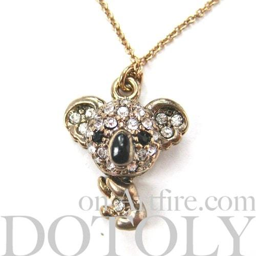 Koala Bear Adorable Animal Pendant Necklace in Dark Silver with Rhinestones | DOTOLY