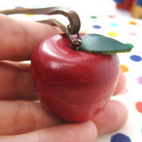 Miniature Hand Carved Wood Red Apple Pendant Necklace | DOTOLY