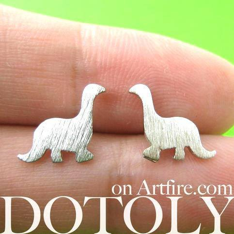 Classic Dinosaur Shaped Stud Earrings in Silver | ALLERGY FREE | DOTOLY