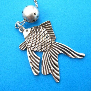 Goldfish Pendant Necklace in Silver | Sea Themed Animal Jewelry | DOTOLY