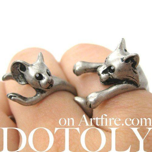 Cat and Mouse Shaped Animal Wrap Ring 2 Piece Set | US SIze 4 - 8.5 | DOTOLY