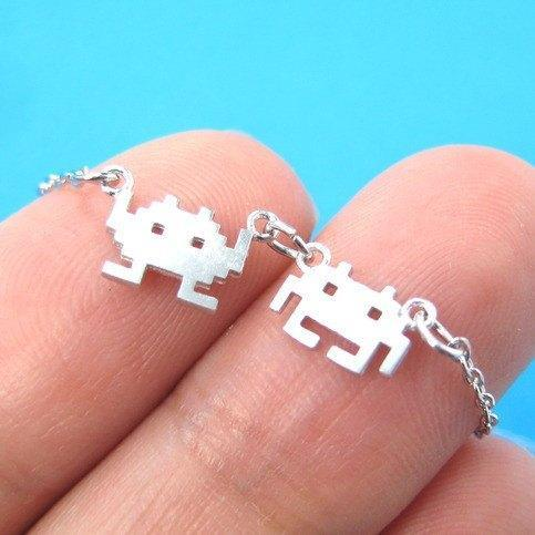 Atari Space Invaders Arcade Themed Alien Pixel Charm Bracelet in Silver | DOTOLY