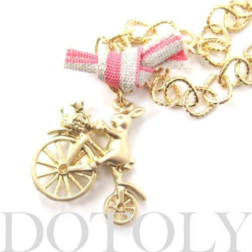Bunny Rabbit Riding a Bicycle Pendant Necklace in Gold | Animal Jewelry | DOTOLY