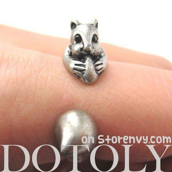 Squirrel Chipmunk With Acorn Animal Wrap Around Ring in Silver | US Sizes 5 to 9 | DOTOLY