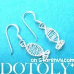 Classic Fish Shaped Wire Wrapped Dangle Earrings in Sterling Silver | DOTOLY