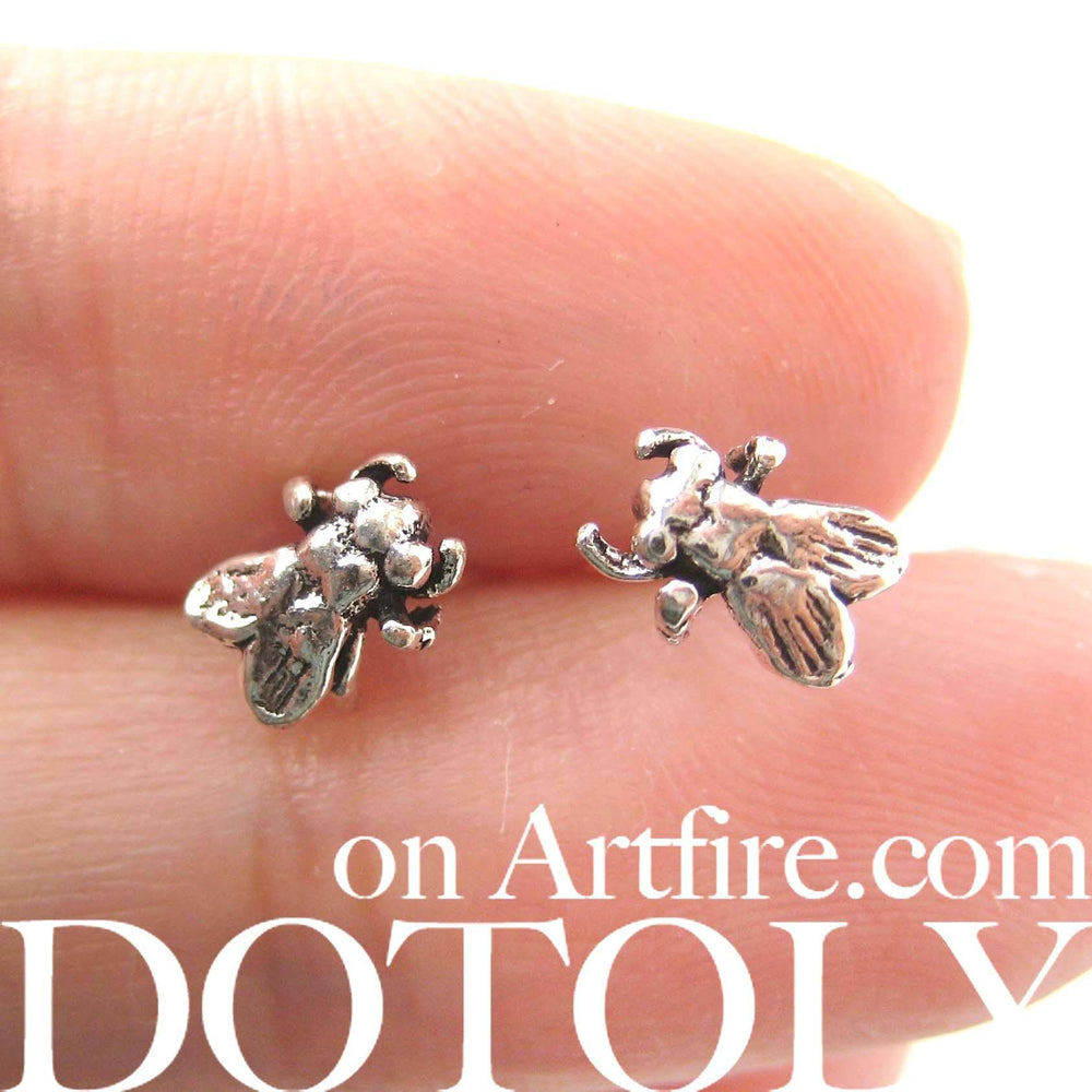 Realistic Fly Insect Shaped Stud Earrings in Sterling Silver | DOTOLY