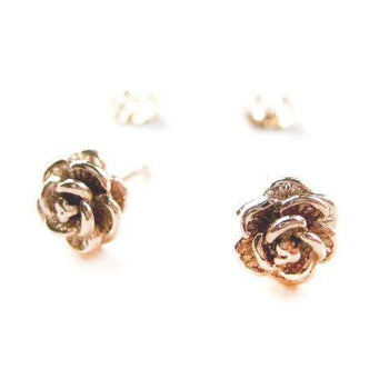 Small Textured Floral Rose Stud Earrings in Rose Gold | DOTOLY | DOTOLY