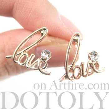 Love Cursive Stud Earrings in Rose Gold with Rhinestones | DOTOLY | DOTOLY
