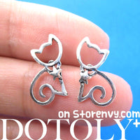 Kitty Cat Animal Outline Stud Earrings with Star Detail in Sterling Silver | DOTOLY