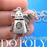 Wall-E Movie Inspired Robot Pendant Necklace in Silver | DOTOLY | DOTOLY