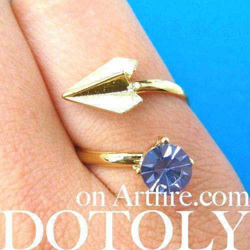 Adjustable Origami Paper Airplane Wrap Ring in Gold with Gemstone Detail | DOTOLY