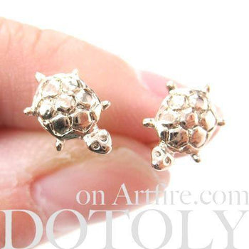 Turtle Tortoise Sea Animal Small Stud Earrings in Rose Gold | DOTOLY