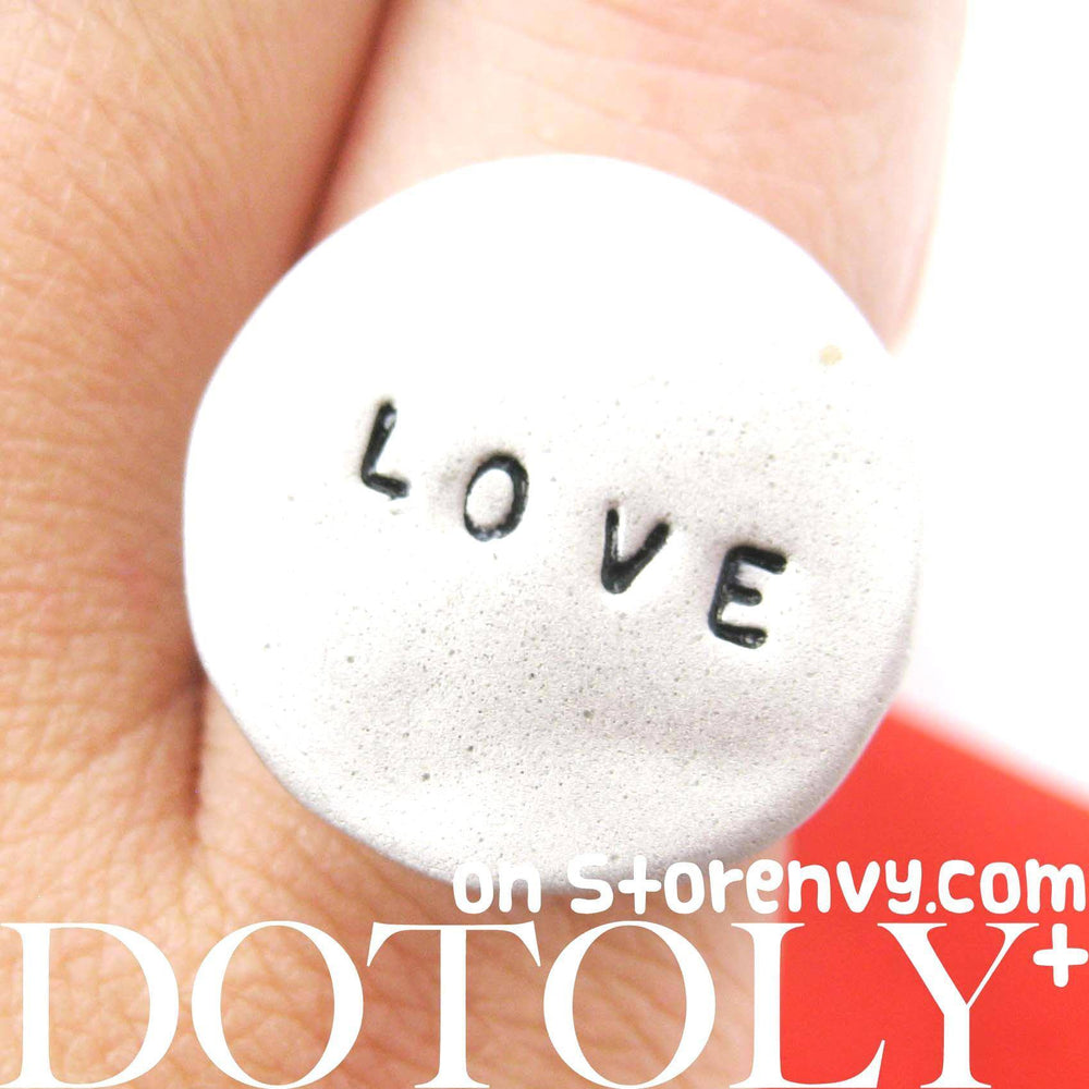 Simple Round Adjustable Love Stamped Hand Written Ring in Silver | DOTOLY