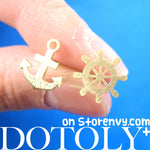 Anchor and Wheel Nautical Themed Stud Earrings in Gold | DOTOLY | DOTOLY