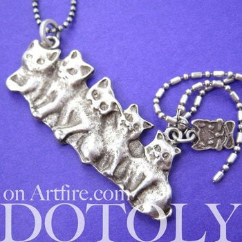 Kitty Cat Kitten Parade Pendant Necklace in Silver | Animal Jewelry | DOTOLY