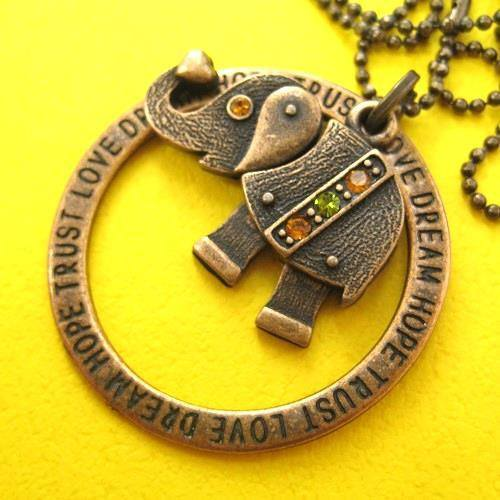 Robot Elephant Animal Pendant Necklace in Bronze with Rhinestones | DOTOLY