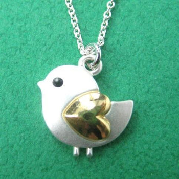 Baby Chicken Bird Animal Pendant Necklace in Silver with Heart Shaped Wings | DOTOLY