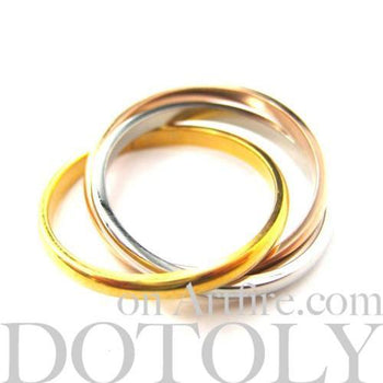 Three Connected Rings Linked into One in Copper Gold & Silver | Sizes 5 to 10 Available | DOTOLY