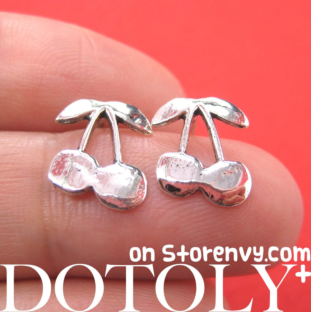 Cherry Shaped Stud Earrings in Sterling Silver | DOTOLY | DOTOLY