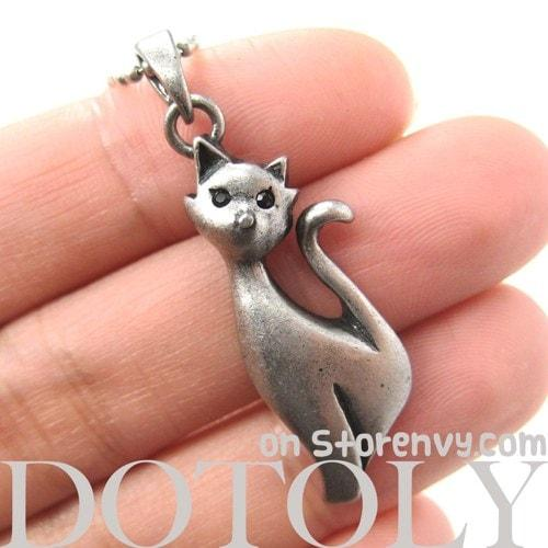 Kitty Cat Animal Pendant Necklace in Silver | Animal Jewelry | DOTOLY