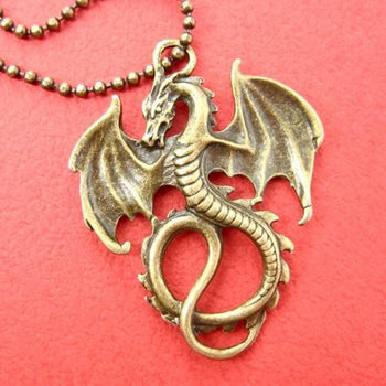 Realistic Dragon Animal Pendant Necklace in Bronze on SALE | DOTOLY