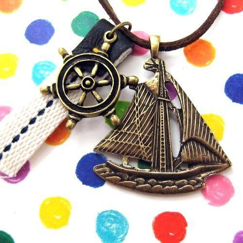 Ship Boat Travel Nautical Sailor Wheel Helm Charm Necklace | DOTOLY