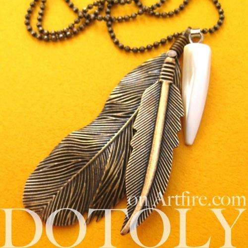 Bohemian Realistic Feather Pendant Necklace in Bronze | DOTOLY | DOTOLY