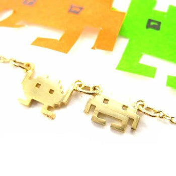 Atari Space Invaders Arcade Alien Pixel Charm Necklace in Gold | DOTOLY