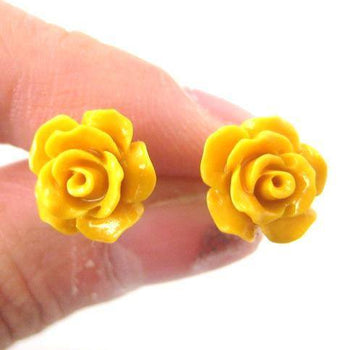 Classic Floral Rose Stud Earrings in Yellow | DOTOLY | DOTOLY