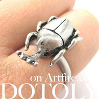 Adjustable Horned Stag Beetle Insect Animal Ring in Silver | DOTOLY | DOTOLY